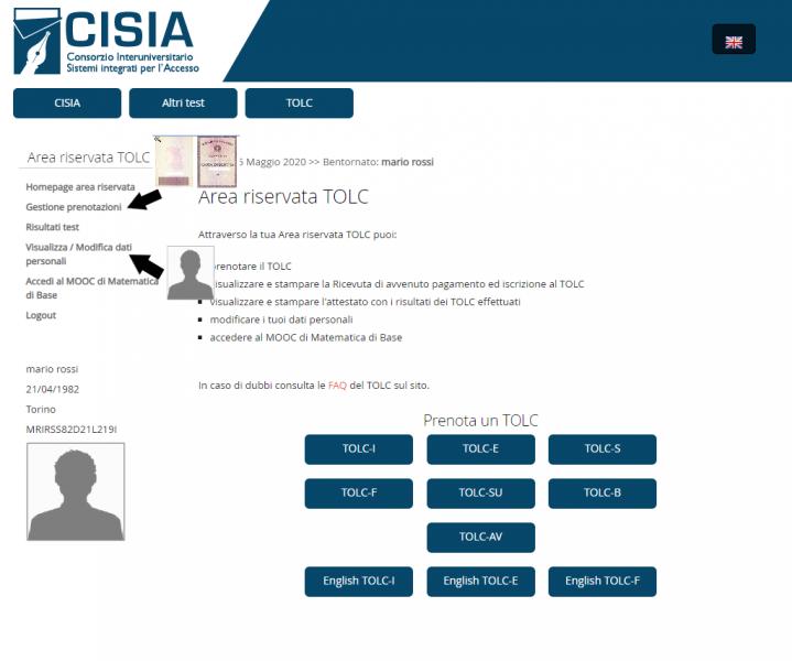 in questa immagine vengono indicati i pulsanti da cui, nell'area riservata TOLC, si può accedere alle sezioni in cui caricare il documento di riconoscimento e la foto perso