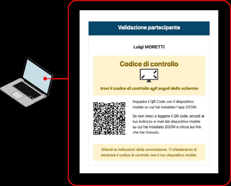 Inquadra il Qr code per accedere all'aula virtuale ZOOM e comunica il codice di controllo visualizzato al commissario